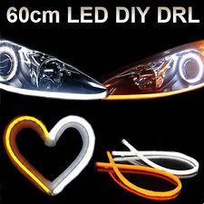 2pcs 60CM FLEXIBLE TUBE White-Amber Headlight LED Strip DRL Daytime Run Lights