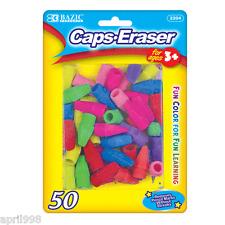 Bazic Caps Eraser Assorted Colors, 50 Per Pack Fun Color for all pencil top#2204