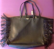 Victoria's Secret Extra Large Shopping Tote Black Leather with Fringe Handbag