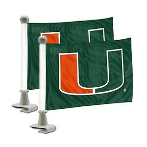 NCAA Miami Hurricanes Car Hood Ambassador Flags Set of Two Double Sided