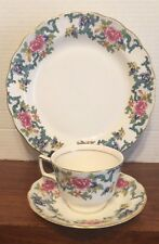 Royal Doulton China 3 Piece Dessert/Luncheon Set Booths Flora does MINT