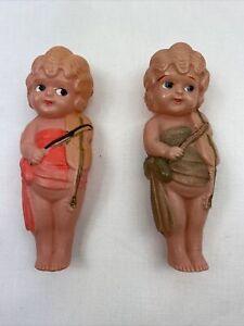 "2 Vintage Celluloid Kewpie Flapper Dolls 4 1/2"" Inch Japan"