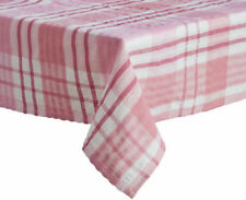 PLAIN GINGHAM CHECKED 100% COTTON SEERSUCKER MATERIAL TABLE CLOTH FABRIC WHITE