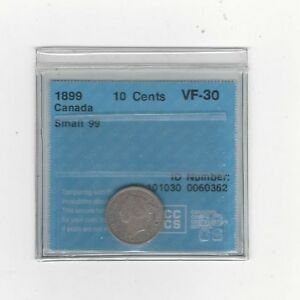 **1899 Small 9's** CCCS  Graded Canadian,  10  Cent, **VF-30**