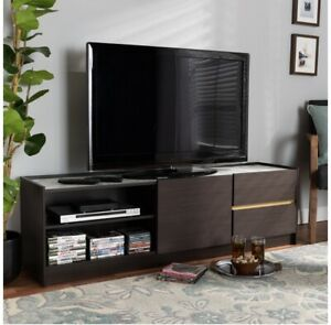 Baxton Studio Walker Dark Brown and Gold Finished Wood TV Stand