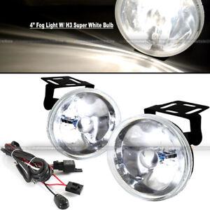 """Challenger 4"""" Round Super White Bumper Driving Fog Light Lamp Kit Complete Set"""