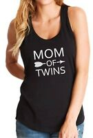 Tank Top Mom Of Twins Shirt Mother's Day Gift Mama Funny Tee Arrow Women T-shirt