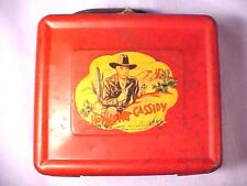 """VINTAGE 1950 Aladdin Industries """"HOPALONG CASSIDY"""" Red Metal Lunchbox, Thermos!"""