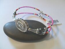 Bead Memory Wire Bracelet ~ ~ Silver Concho Bead Pink Seed
