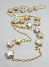 Beaded Necklace Rosary Link Chain Pearl Necklace Gold Plated 28 Inch Long