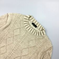 Auth Prada Mens Tan Brown Cable Knit Wool Jumper Sweater Sweatshirt Size L IT50