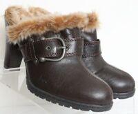 Born Concept B.O.C Brown Split Toe Buckle Fur Mule Heel BC6387 Women's US 8