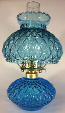 New Complete Light Blue Glass Diamond Quilted Oil Lamp With Shade,Chimney,Burner