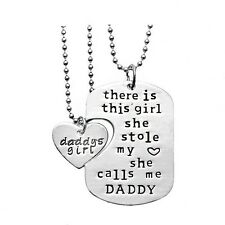 Daddy and Daugher Twin Dog Tag Necklaces Dad Father Men Girls Gift - USA Seller