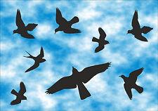 Vögel Aufkleber 8 Stück - Vogelschutz - Wintergarten -Tür - Farbe: schwarz  AN 2