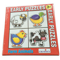 Early JIGSAW Puzzle FARM ANIMALS Educational TODDLER PRESCHOOL Toy KIDS Set of 4