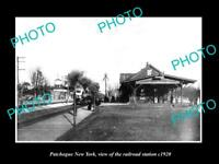 OLD LARGE HISTORIC PHOTO OF PATCHOGUE NEW YORK, THE RAILROAD DEPOT STATION c1920