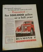 Vintage Diamond T Truck Car Advertisement 1930's Paper Ad Sign