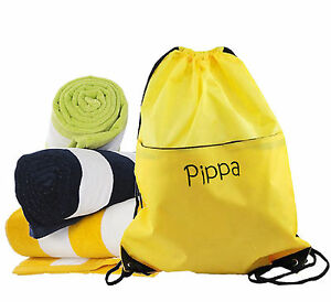 Personalised Embroidered Name  Personalised Swim Bag with  Pool Beach Towel