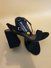 New Look Ladies Black Suedette Block Heels UK 5