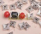 100pcs 8mm Square Tibetan Silver Bead Caps Charms Spacer Beads Jewelry Findings