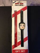 Vintage 1985 Betty Boop Flip It Watch Gift Set Box Black Red BRAND NWT