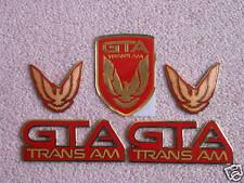 NEW 91-92 GTA Trans Am Emblem 5pc Set (BRIGHT RED)