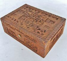 """4.95"""" Antique Chinese Export Carved Wood Trinket Box w/ Scholars, Trees & Pagoda"""