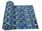 Twin Size Blue Ikat Kantha Quilt Blanket Bedspread Throw Gudari Ralli Bedding