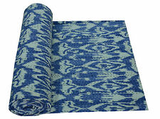 Blue Ikat Kantha Quilt Bedspread Throw Gudari Ralli Blanket Queen Size Bedding