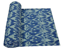 Indian Blue Ikat Kantha Quilt Blanket Bedspread Throw Gudari Cotton Twin Bedding