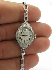 Platinum Vintage ELGIN Diamond Watch .90CT