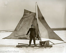 Vintage Ice Boating Sailing Ice Antique Ice Boat Ice Sail Googles Lake Michigan