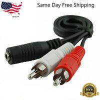 2-RCA Male Plug to 3.5mm Female Aux Audio Headphone Jack Converter Adapter Cable