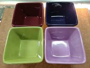 """PAMPERED CHEF SIMPLE ADDITIONS 4.5"""" Square Colorful Serving BOWLS MULTI COLORED"""