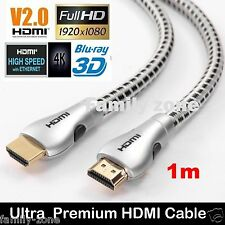 Ultra Superior Premium HDMI Cable V2 Gold Plated High Speed Audio Ethernet 1m