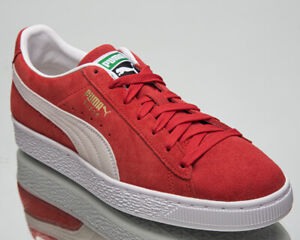 Puma Suede Classic XXI Men's Red White Casual Athletic Lifestyle Sneakers Shoes