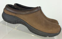 Merrell Womens Encore Groove Brown Leather Slip On Clogs, Mules Loafers, Size 6