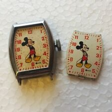 1948 Ingersoll Disney Mickey Mouse US Time 6740 Watch w/ EXTRA Face Plate RARE