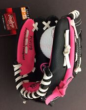 PLAYMAKER 9 INCH ~ Rawlings Youth Girls Pink Softball T-Ball Glove LEFTY Thrower