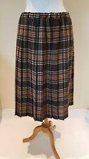 Ladies brown/cream checked tartan pleated skirt Size UK 20