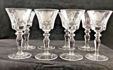 Vintage Crystal Etched Stemware Stemmed Cordial Floral  ( set of 8 )