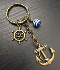 Bronze Tone Anchor Keyring / Bag Charm, Boat Wheel, Nautical, rockabilly, Gift