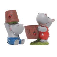 Cartoon Hippo Resin Succulent Planter Creative Flower Pots Adorable Bonsai for