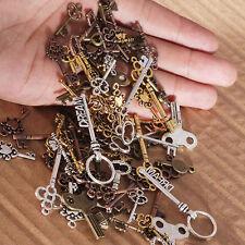 25Pcs Key Necklace Charm Pendant Key Chain Keyring Metal Jewelry Making DIY Gift