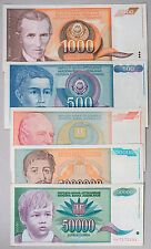5 diff. Yugoslavia currency some high values 1990's nice circulated