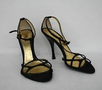 PACO GIL Ladies Black Textile/Leather Ankle Strap Stiletto Heel Shoes UK5 EU38