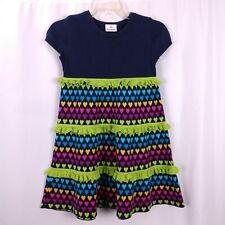 Hanna Andersson Sweater Dress Size 120 6-8 Rainbow Heart Print A Line