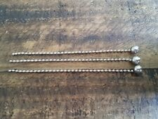 """3/8"""" LARGE THREE SILVER BEAD CHAINS - ANTIQUE VINTAGE DECO LIGHT FIXTURE SHADE"""