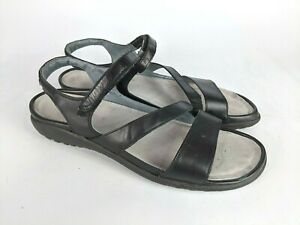 Naot Black Leather Black Strappy Ankle Strap Shoes Wedge Sandals Size: 42 / 11